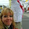 Melody, Toronto crossing guard at a Toronto intersection with a poem left  For Her.