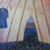 "Tipi Interior Manitou Lake, Saskatchewan 40"" x 60"" Acrylic on Panel, Sweetgrass 2010 $1,600"