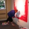 Stella Walker in action Art Battle Canada Live Competitive Painting Paint the Halls Women's College Hospital